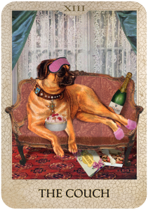The Couch from Dog Tarot with illustrations by Marty Blake