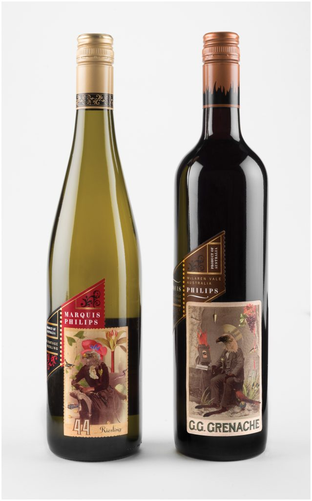 Wine bottles with labels by Marty Blake