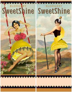 Sweetshine Chocolate Raspberry bottle label by Marty Blake
