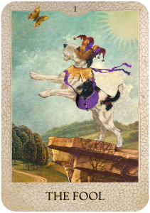 The Fool from Dog Tarot with illustrations by Marty Blake