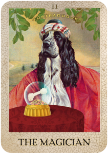 The Magician from Dog Tarot with illustrations by Marty Blake