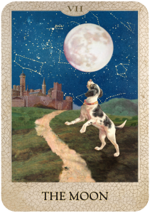 The Moon from Dog Tarot with illustrations by Marty Blake