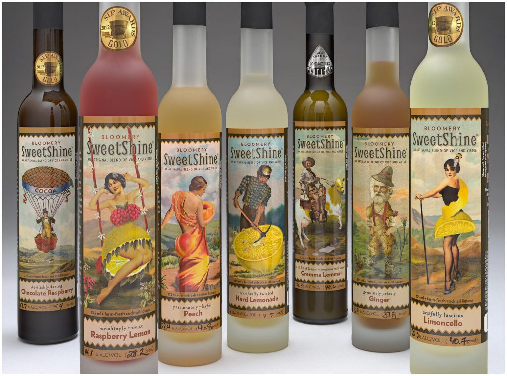 Sweetshine wine bottles with label illustrations by Marty Blake